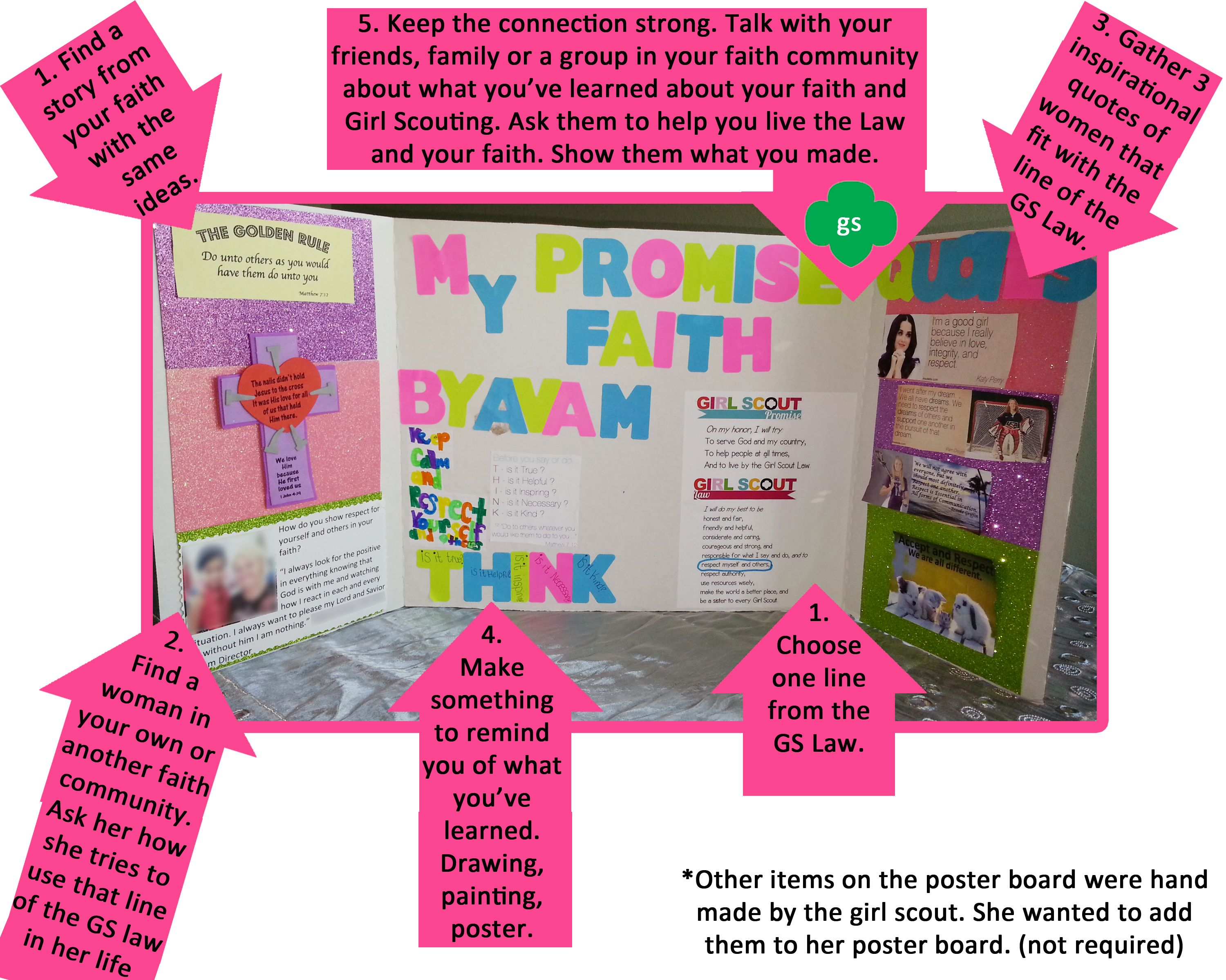 Girl Scout My Promise My Faith Pin Poster Board Example I