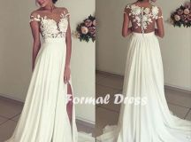 Elegant white prom dress,A-line chiffon lace long prom ...