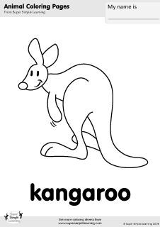 Free kangaroo coloring page from Super Simple Learning