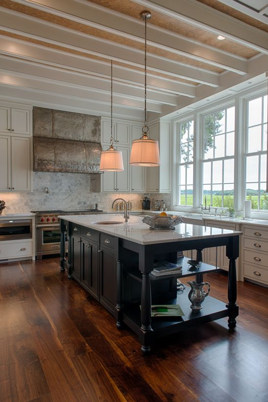 White Country Kitchen With Dark Wood Island Love The