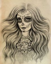 sugar skull tattoos with long hair