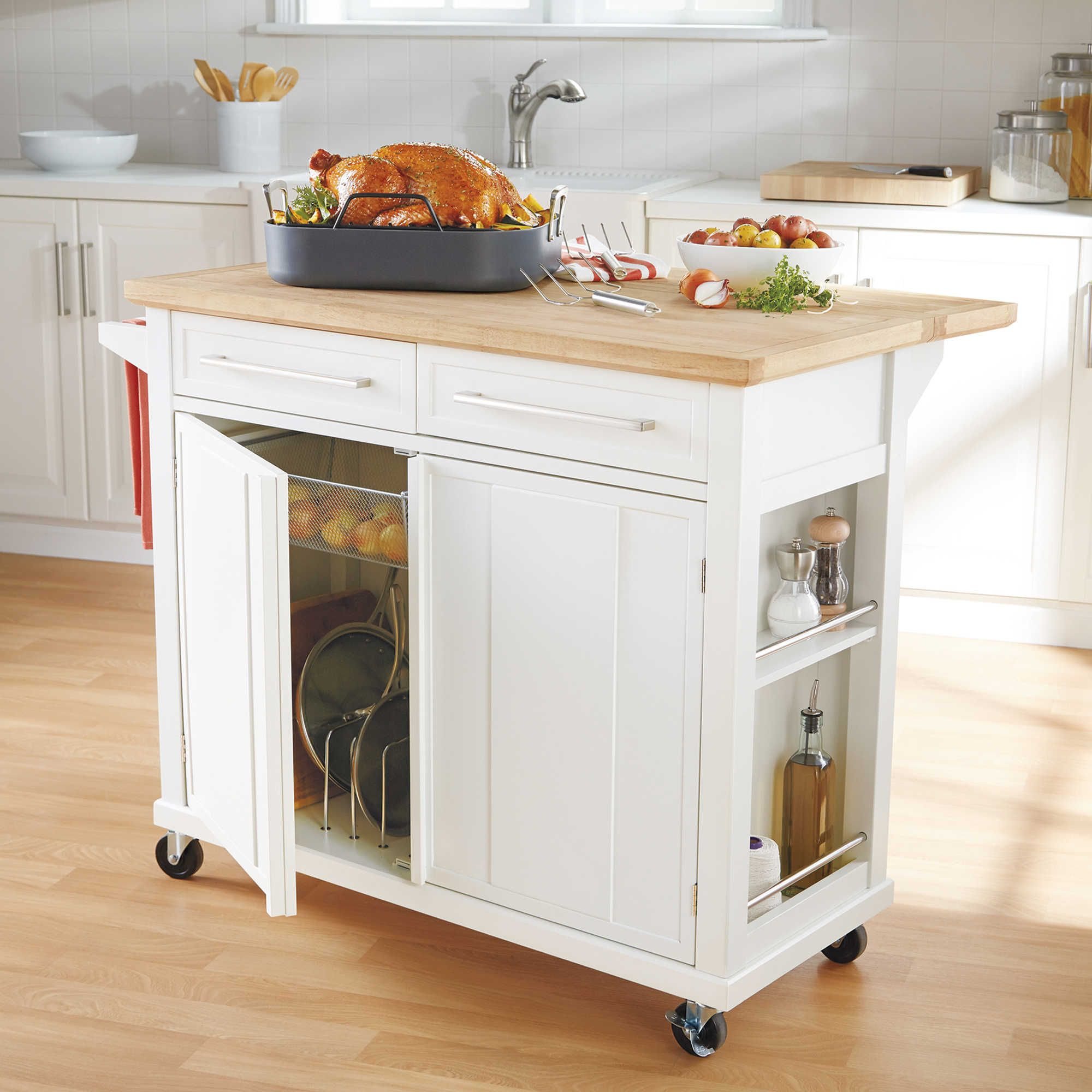 Real Simple Rolling Kitchen Island in White  Rolling