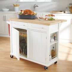 Roller Kitchen Island Metal Real Simple Rolling In White