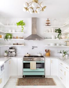 White kitchen aqua industrial range floating shelves plants elsie larson   tour beautiful light also begin again pinterest rh