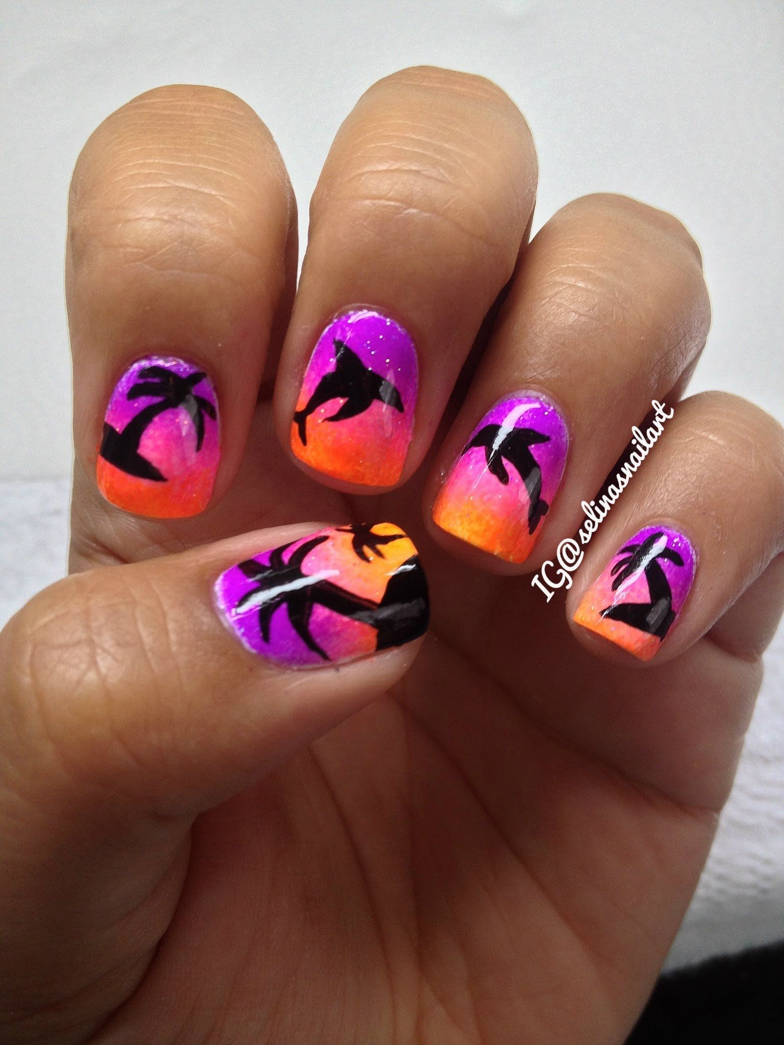Palm Tree & Dolphin Nail Art Tutorial