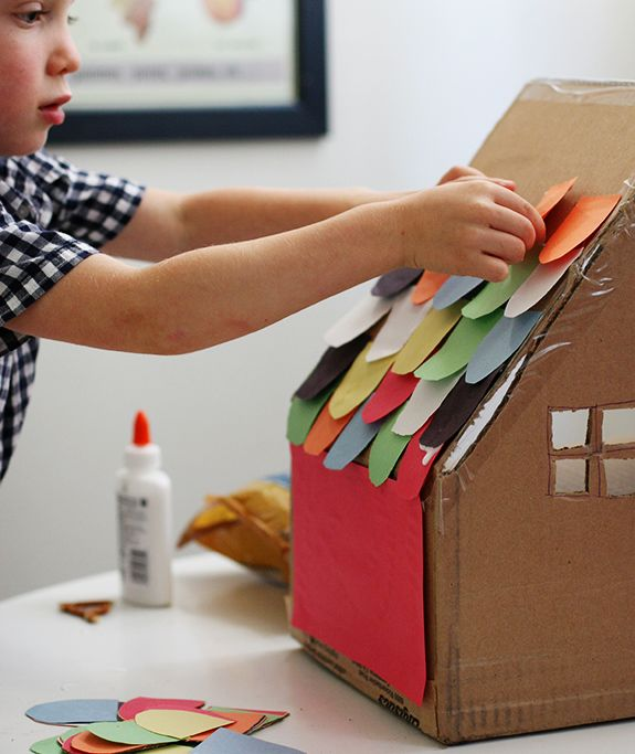 Cardboard Box House With Rainbow Shingles Rainy Day Fun For Your