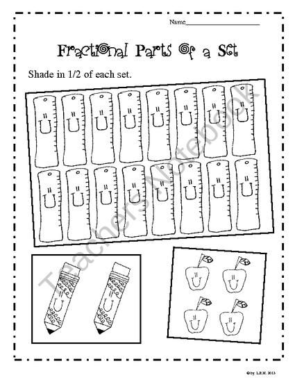 Fractional Parts of a Set Worksheets (School Theme