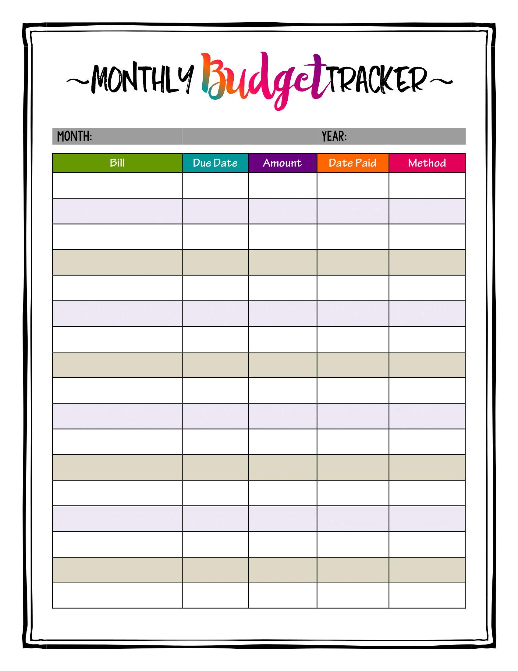 How To Organize Bills Super Bright Budget Tracker Makes