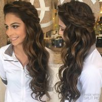 Down style summer spring wedding boho braids big braids ...