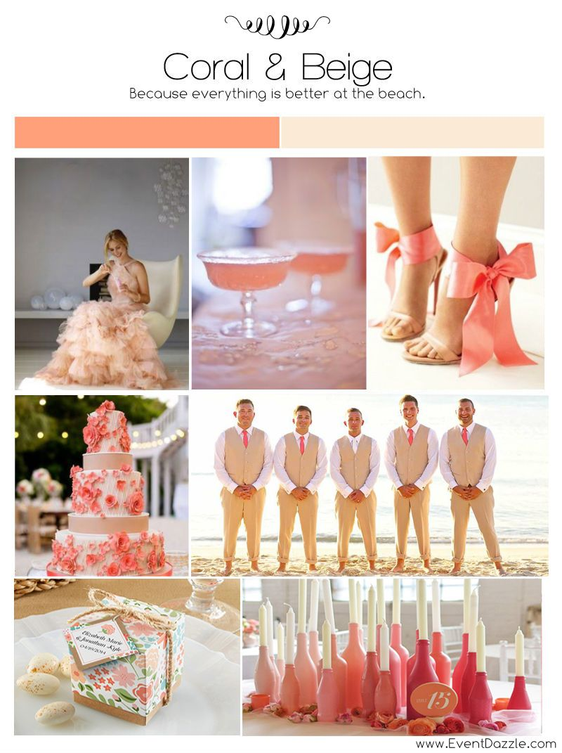 Coral and Champagne Wedding Inspiration  Personalized