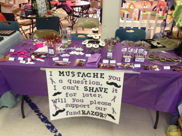 The kids Relay for Life fundraising table at their school