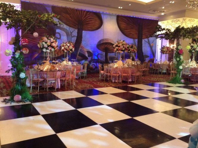 Step Into Temple Israel Of Lawrence S Amazing Alice In Wonderland Themed Bat Mitzvah Morrell Caterers And Nikoletta Events Made Jessica