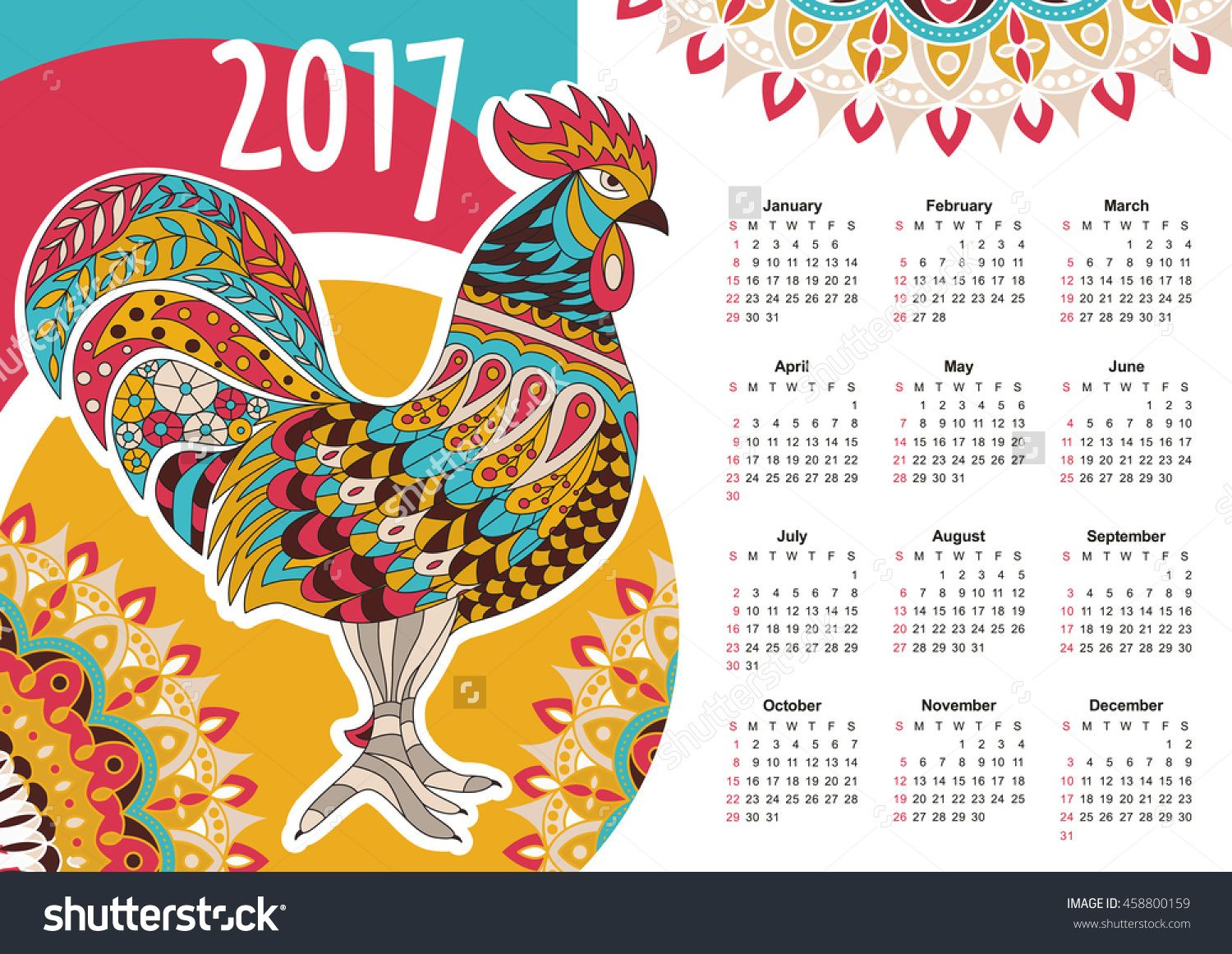 Vector Calendar Colorful Rooster