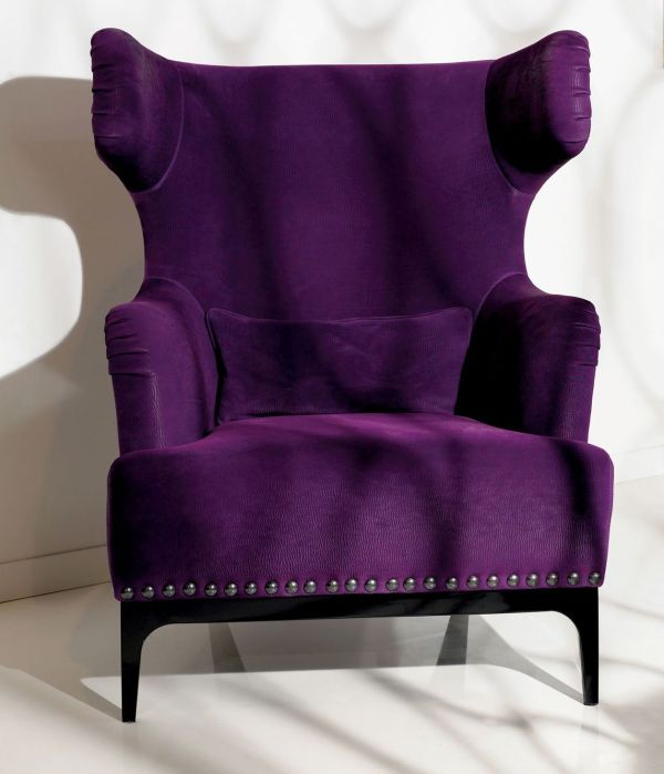 Luxe Italian Designer Lounge Chair In Purple Upholstery