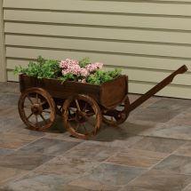 Wooden Planter Wagon Free Shipping
