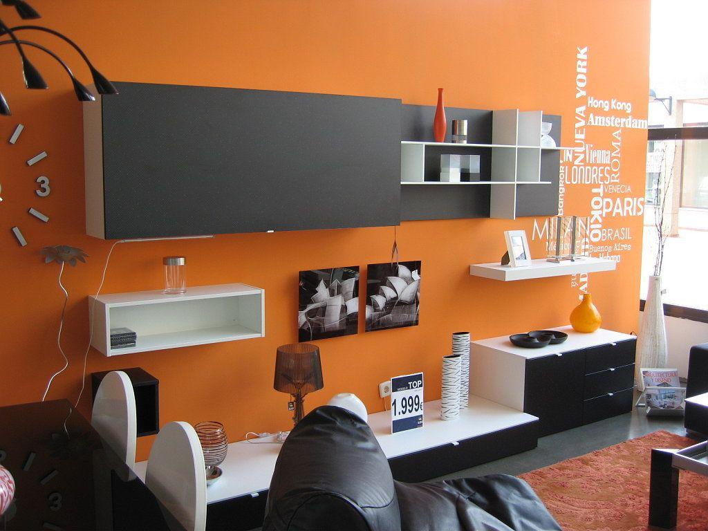 salon en naranja y gris  Decorar tu casa es facilisimo