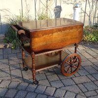Vintage Folding Tea Cart Beverage Cart with Wagon Wheels ...