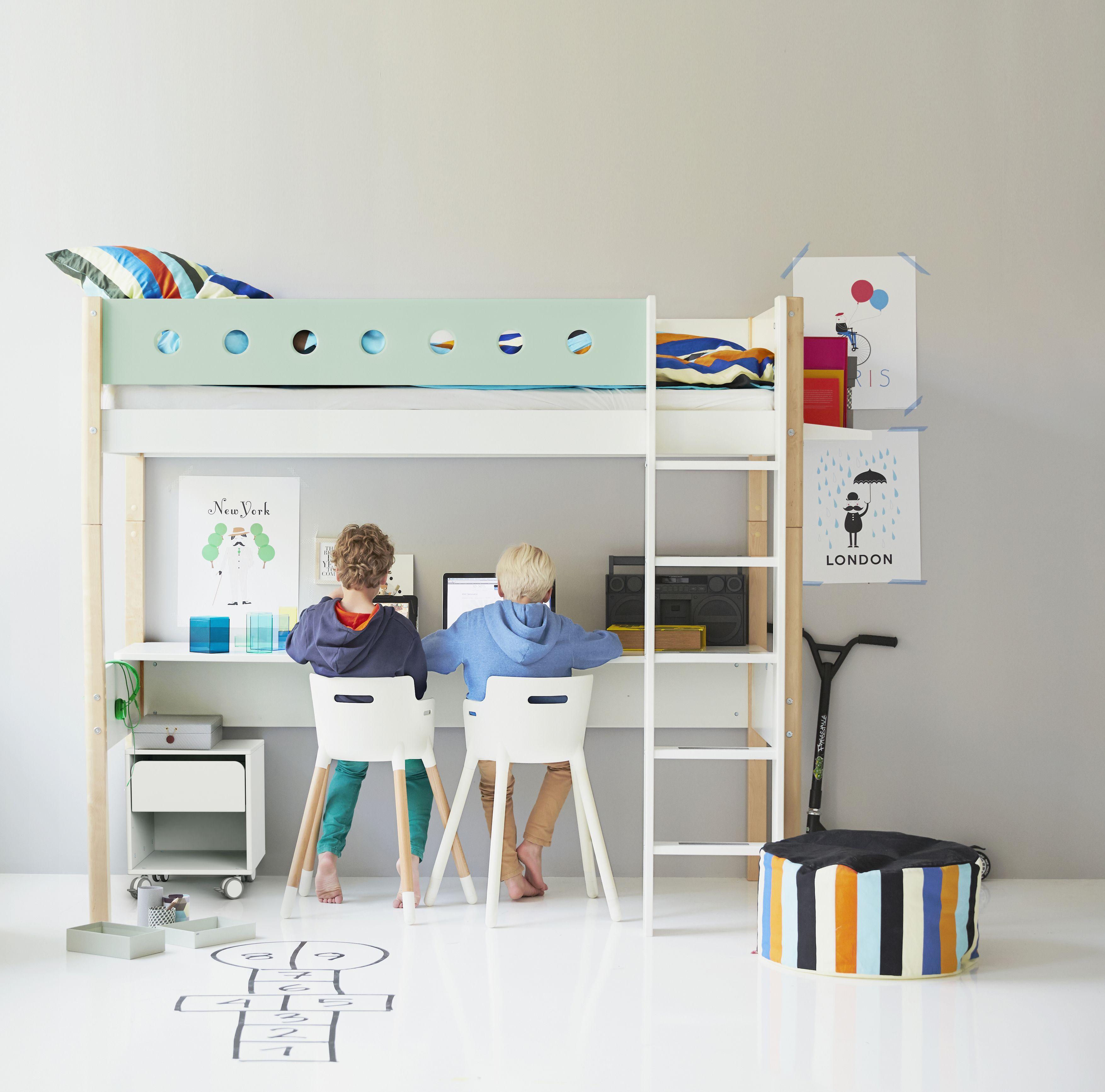 Kinderzimmer Mit Hochbett Flexa White Individuell Zusammenstellbar