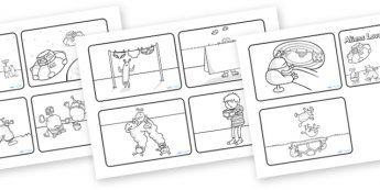 Aliens Love Underpants Story Sequencing (4 per A4, Black