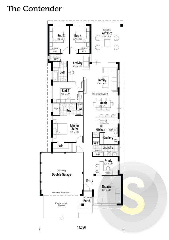 The Contender floorplan. 4x2. Activity room. Alfresco