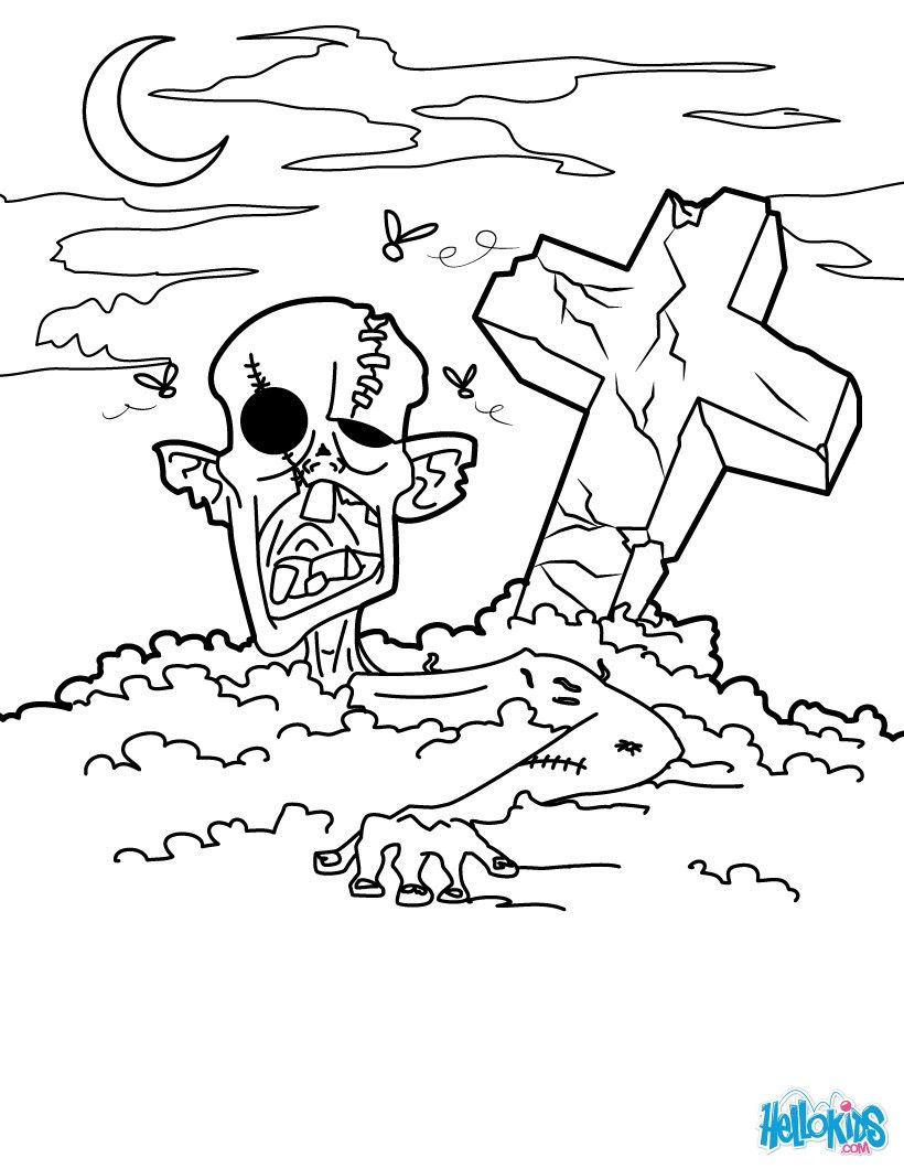 Zombie In The Graveyard Coloring Pages For Halloween Coloring