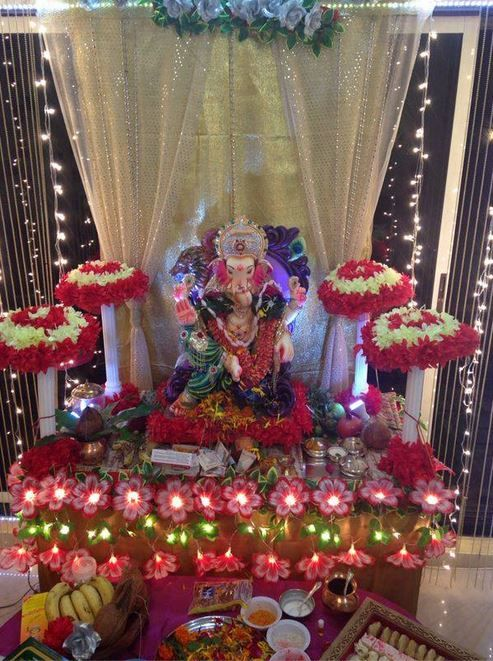Ganpati Decoration Ideas At Home Ganesh Pooja