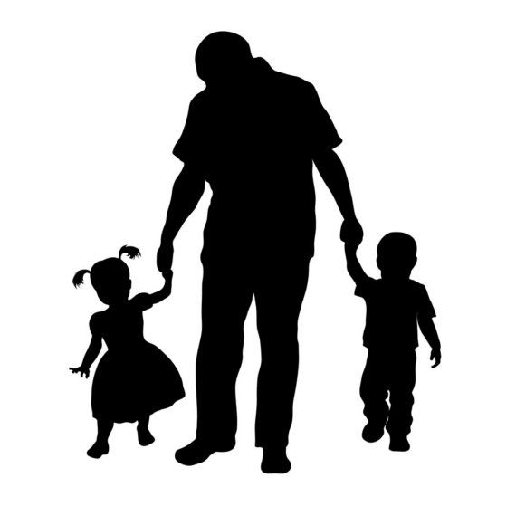 Download Custom Silhouette Print Father and Children Perfect door ...