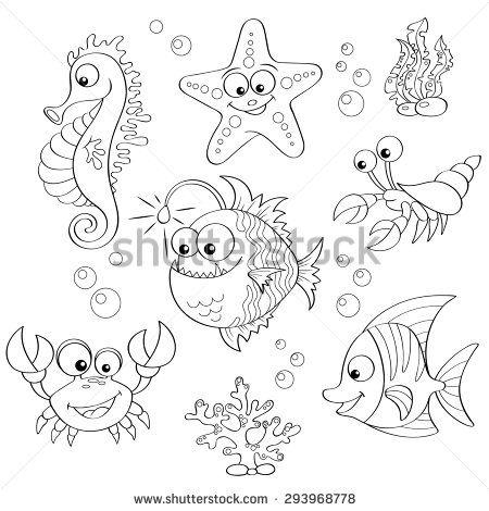 Set of cute cartoon sea animals. Black and white vector
