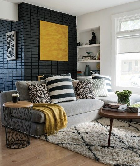 Photos interieurs gris anthracite living room decor yellowyellow wall also salons rooms and rh pinterest