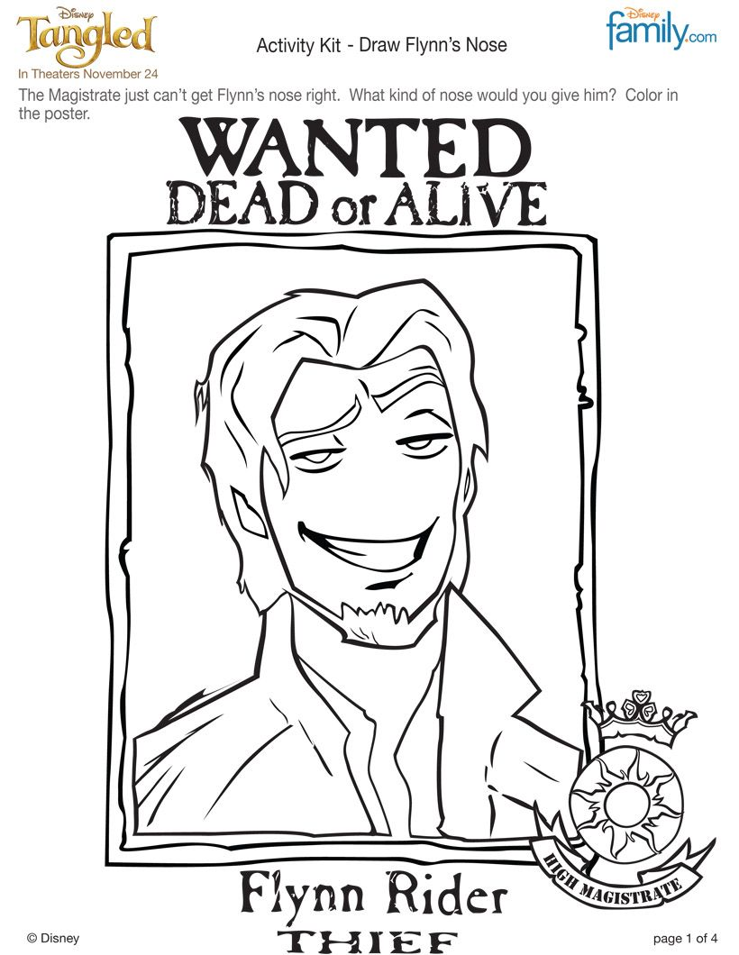 FLYNN RIDER coloring page. Blow this up for pin the nose