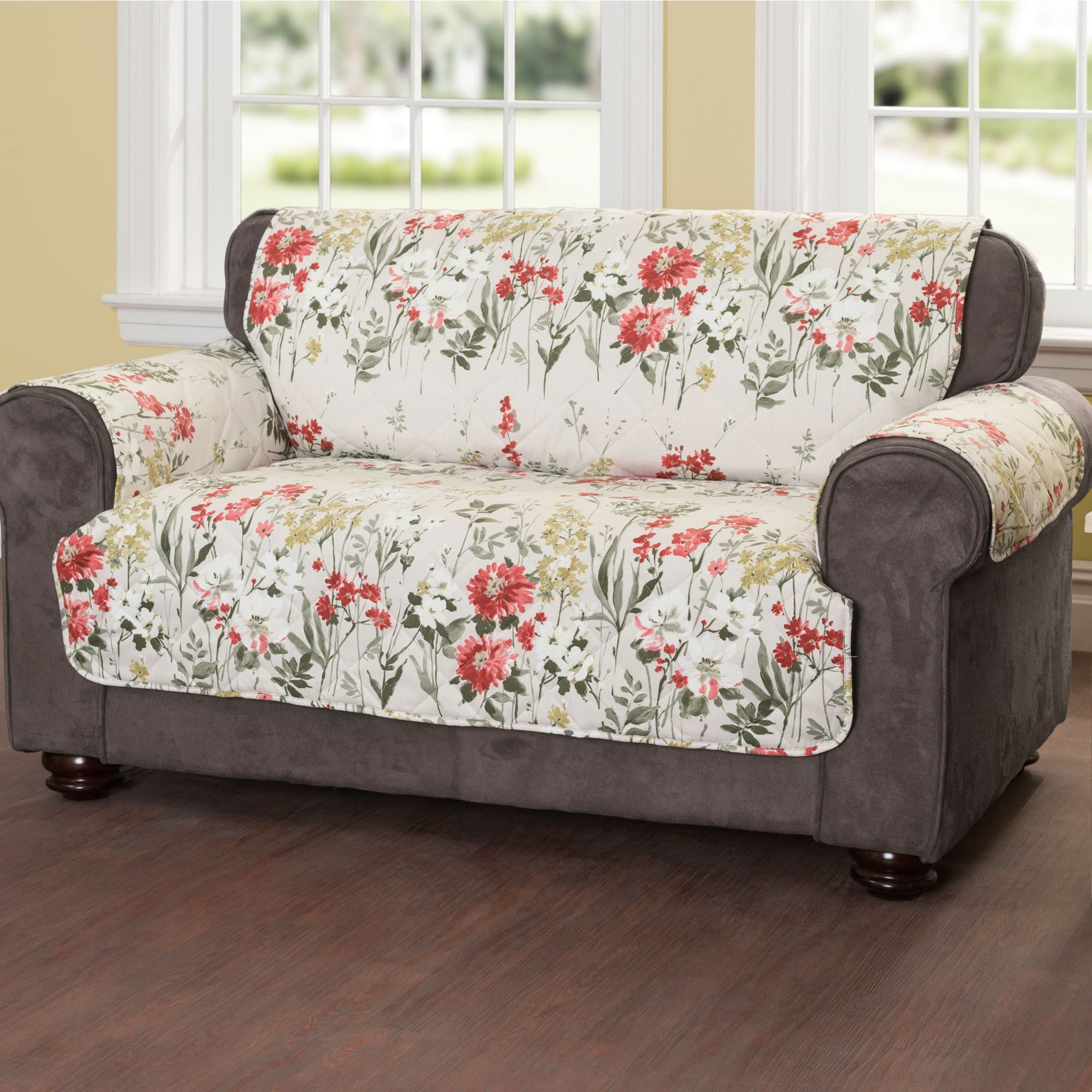 green floral sofa slim bed meadow quilted furniture protectors living room