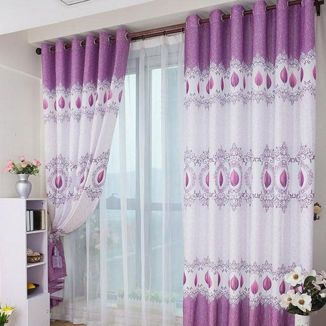 Interior Lovable Double Layer White Curtains And Chic Purple