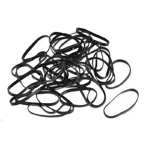 Rosallini 40 Pcs Black Ponytail Hair Rubber Bands w Clear