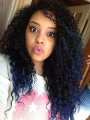 blue curly ombr black hair color