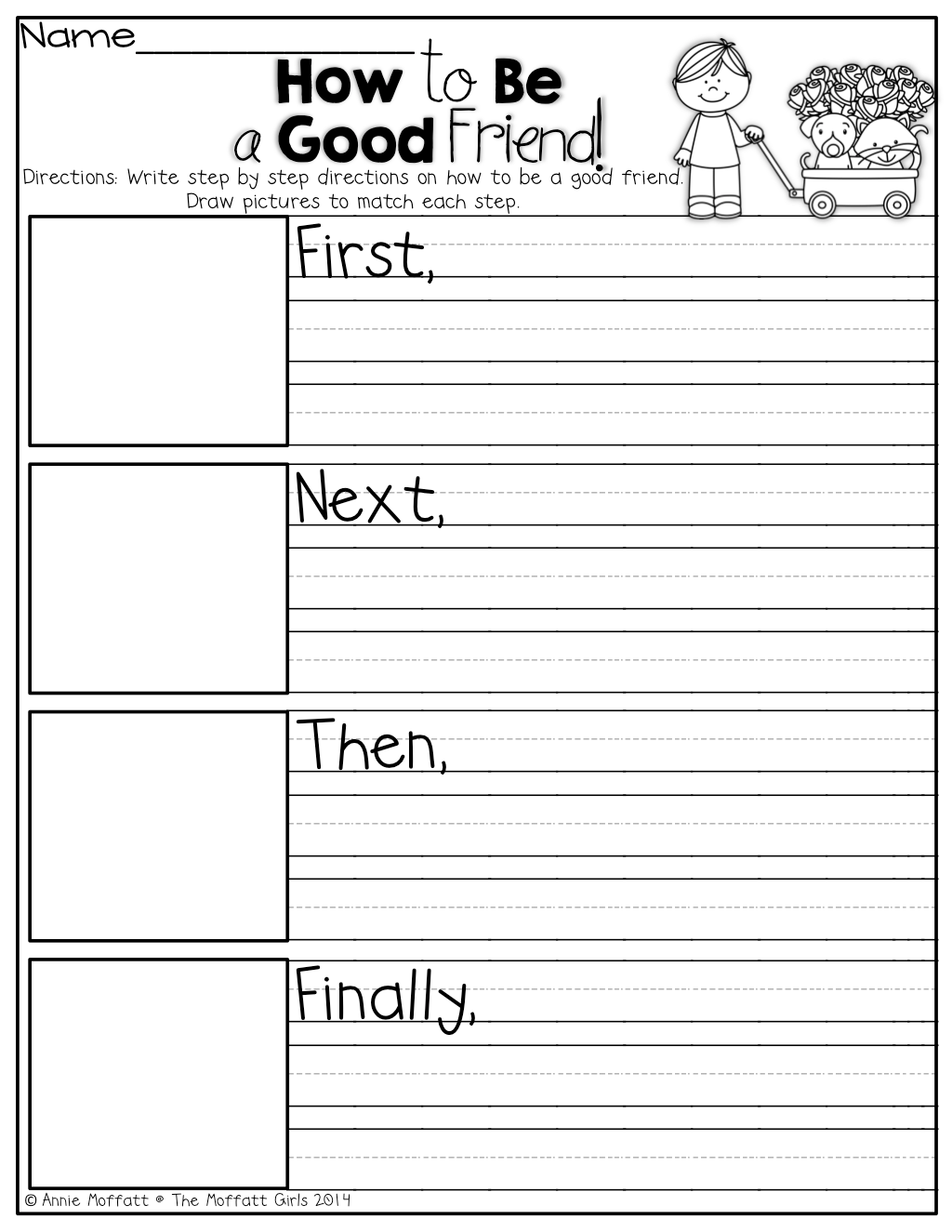 How To Be A Good Friend Writing Prompt Using Transitional Words