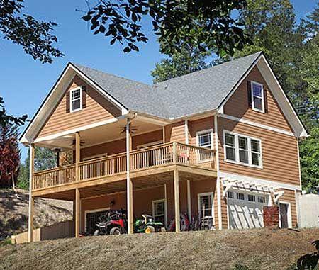 Plan 24114BG Vacation Cottage with Drive Under Garage