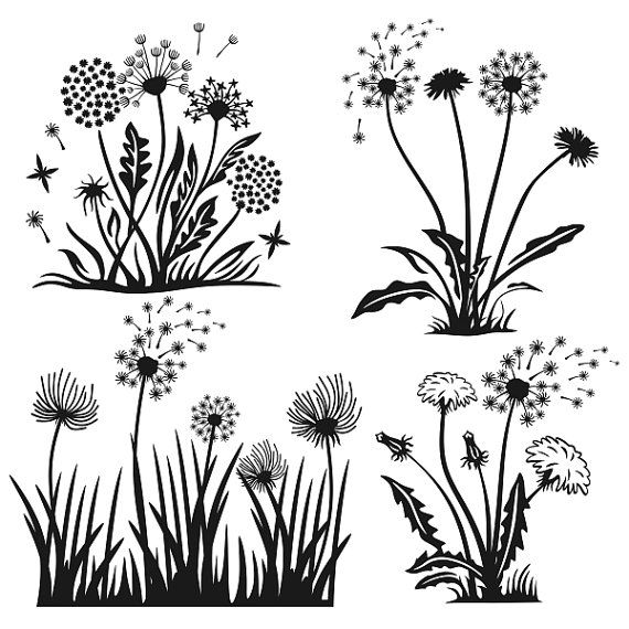 Dandelions Flower Spring Cuttable Designs SVG DXF by