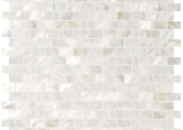 Genuine mother of pearl natural minibrick backsplash tile on  mesh mothers pearls and also