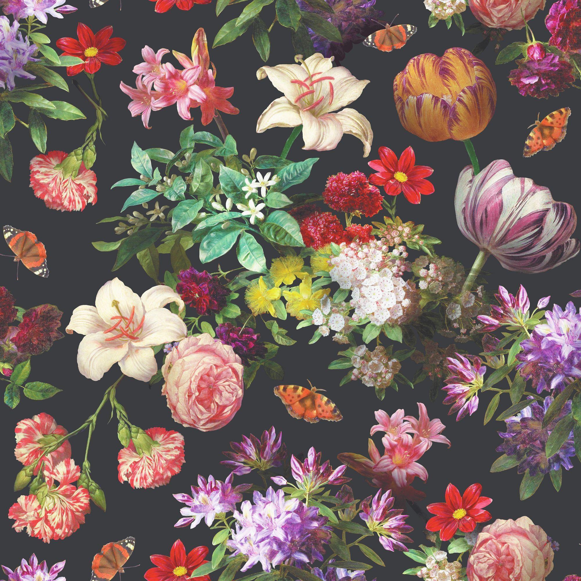Brigitte Black Floral Wallpaper