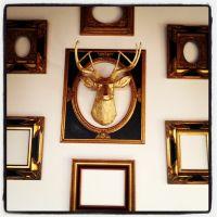 Empty frames, Rococo, faux gold deer wall art.