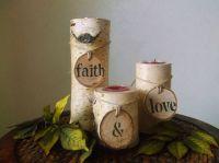birch tree candle decor - Google Search   unique wedding ...
