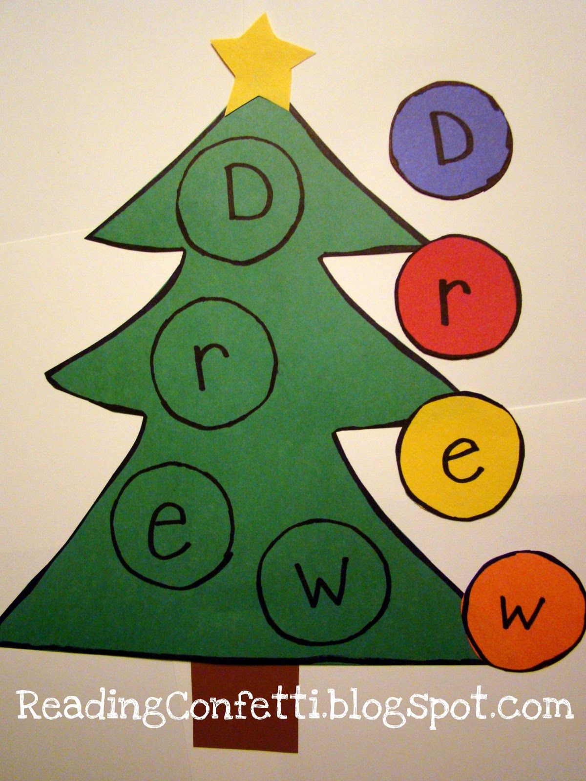 Preschool Christmas Literacy Reading Confetti Mooseltoe