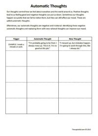 CBT Worksheets! Automatic Thoughts Preview. Good for