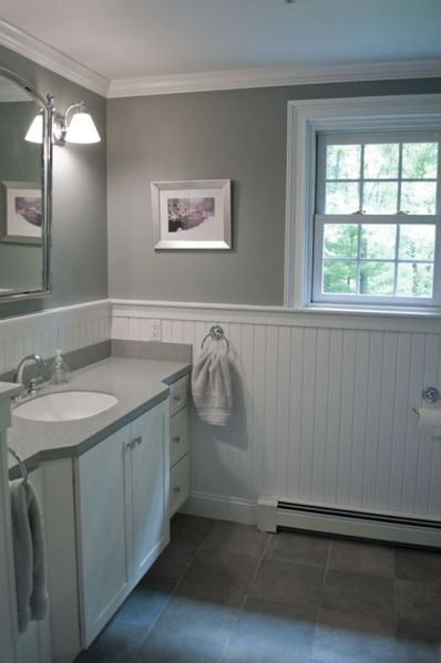 white wainscoting bathroom vanity New England bathroom design. Custom by PNB. Porcelain