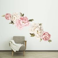 Floral Wallpaper Mural - Watercolor Peony Large Self ...
