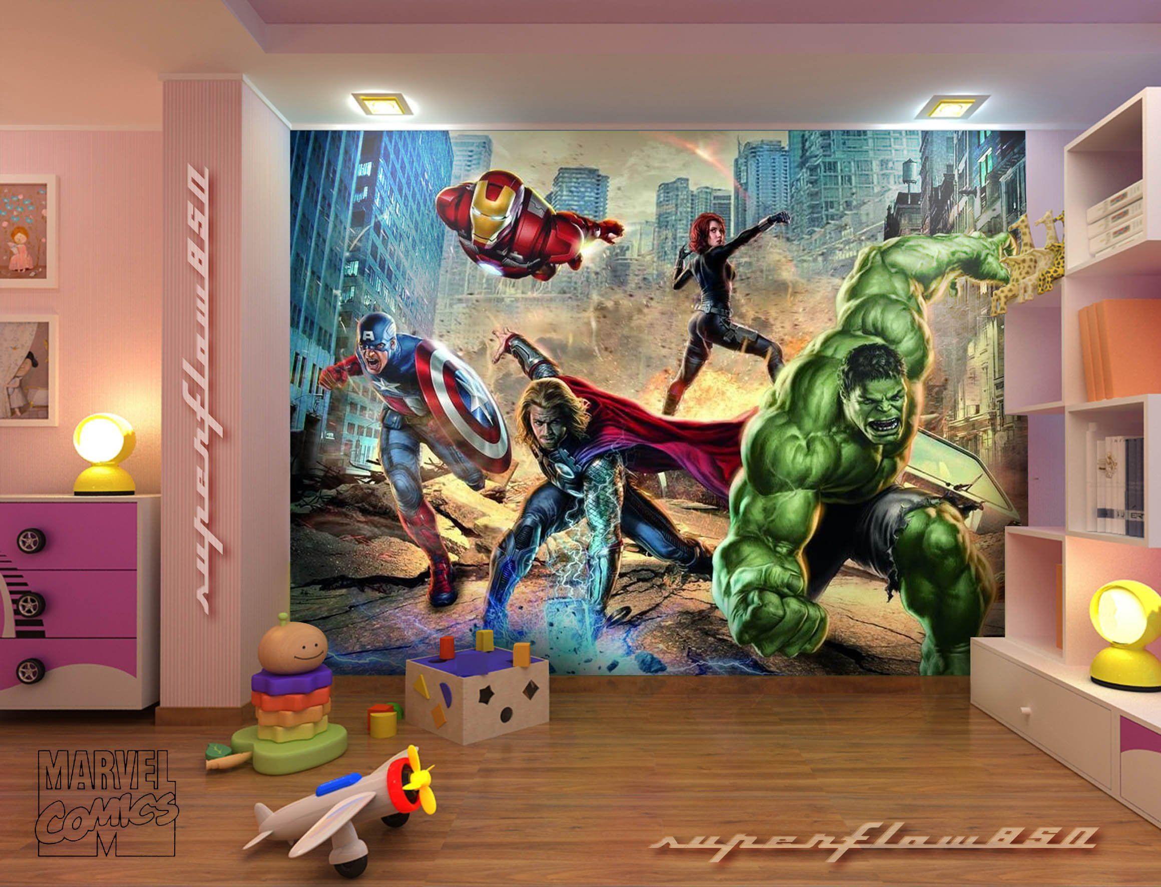 Dc Superhero Girls Bedroom Wallpaper Avengers Street Rage Marvel Photo Wallpaper Wall Mural