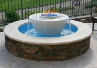 Beautiful Traditional Outdoor Patio Water Feature with Gas ...