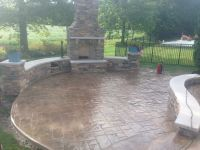 Decorative stamped concrete patio, sitting walls and ...