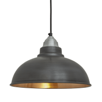Old Factory Vintage Pendant Light - Dark Pewter and Copper ...
