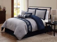 Navy Blue and Grey Comforter Set